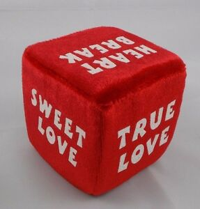 Dan-Dee-Red-Love-Sayings-Dice-Plush-3-034-Valentines-Day-Stuffed