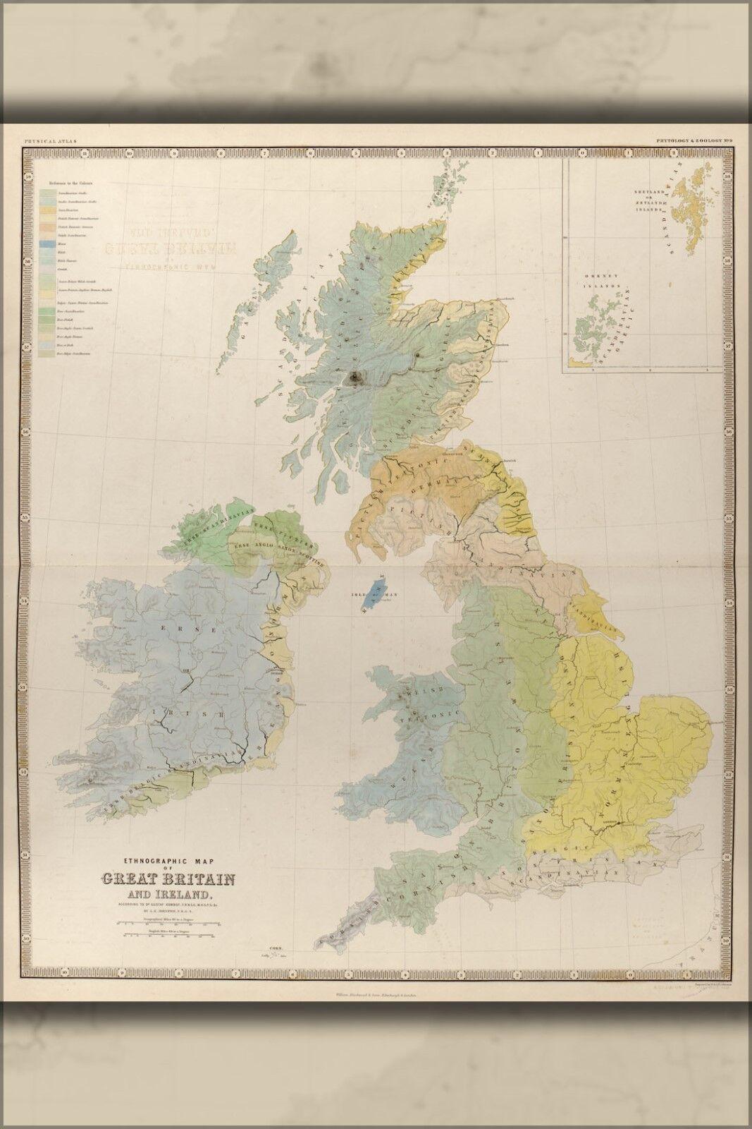 Plakat, Viele Größen; Ethnographisch Karte von Großbritannien & Irland 1848