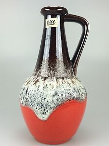 60er-70er-Jahre-Fat-Lava-Vase-Blumenvase-Tischvase-Bay-Keramik-Space-Age-Design