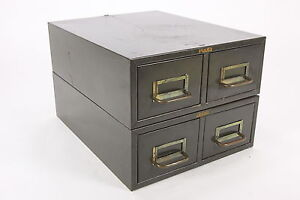 Cole Industrial 4-Drawer Index Card File Steampunk Green Metal ...