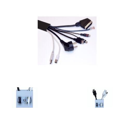 Alu Kabelkanal schwarz gerundet 115x3,7 cm für TV HiFi Computer Lampen Aluminium