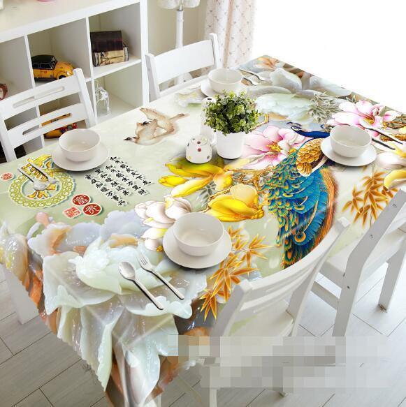 3D Lotus 65 Tablecloth Table Cover Cloth Birthday Party Event AJ WALLPAPER AU