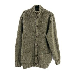 Gant Womens Cable Knit Sweater Size XXL 2XL Toggles Italy Wool Blend Green