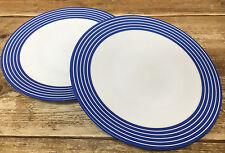 Denby Intro Blue Stripe Cobalt Royal 2 Dinner Plates White Bands ...