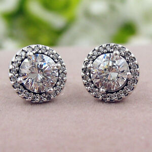 Authentic-100-925-Sterling-Silver-Classic-Elegance-Clear-CZ-Stud-Earrings