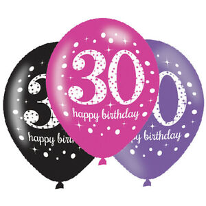 Image Is Loading 6 X 30th Birthday Balloons Black Pink Lilac