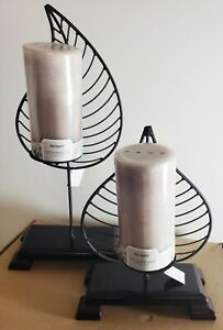 Pair-Leaf-Shaped-Candle-Holders-19-034-amp-13-034-New-in-Box