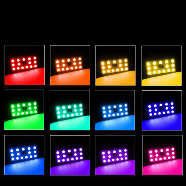 NEW Car Roof Dome Reading T10 5050 12 SMD RGB LED Light Lamp Bulb Remote Control