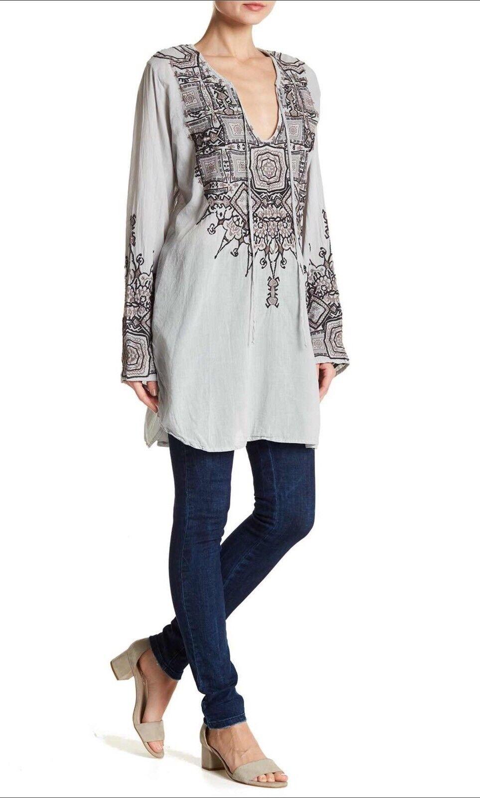 Biya By Johnny Was Biya Mawian Embroidered Tunic Top Blouse L Platinum