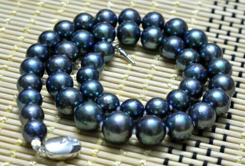 """18/""""10-11mm genuine natural tahitian peacock green ROUND pearl necklace 14K"""