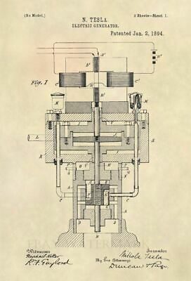 1894 Nikola Tesla Electric Generator US Patent Art Print - 524 634521059126 on