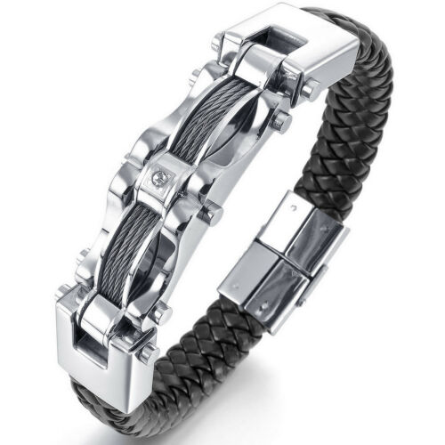MENDINO Men/'s Stainless Steel Leather Bracelet Cable Wire Cuff CZ Biker Bangle