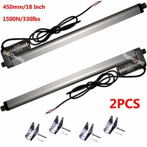 "2X 12V 450mm 18"" Linear Actuator Motor 1500N 330lbs Multi-function For Boat Car 608651080237"