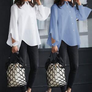 Mode-Femme-Chemise-Haut-Ample-Loisir-Quotidien-Manche-Longue-Boutons-Loose-Plus
