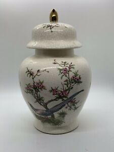 Ceramic Ginger Jar With Cherry Blossoms And Bird Gold Filial 10x8 Inches