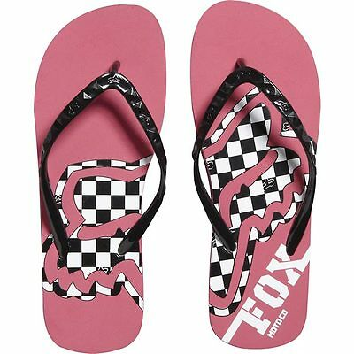 FOX RACING GIRLS CHECKPOINT FLIP FLOPS STRAWBERRY PINK beach flat sandals NEW