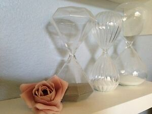 3 TALL HOURGLASS Home Decor White Grey Hour Glass Timer Stripe Geometric Diamond