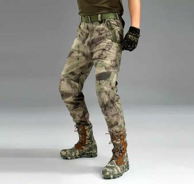 Mens  Military Hunting Outdoor Sport Trousers Combat Soft Shell Waterproof Pants  trendy