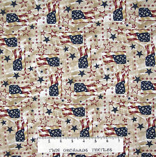 Patriotic Fabric - American Flag & Star Patch Beige - Santee Cotton YARD