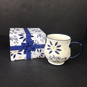 Temp-Tations Blue Floral 16 oz Mug Cup Stoneware Ovenware w/ Gift Box by Tara