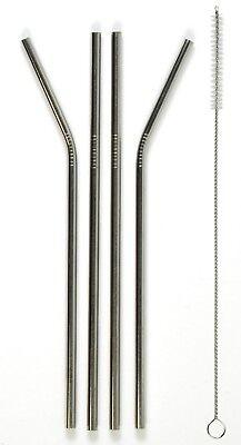 Bello Baluum 4 Set D'argento Acciaio Inox Strohhälme Con Sacchetto Riutilizzabile