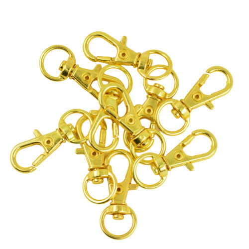 10pcs Gold Swivel Trigger Snap Hooks Lobster Clasps Keychains Bags Craft