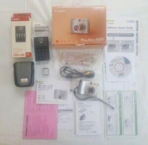 Canon powershot a520 4. 0mp digital camera silver case usb manuals.