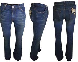 Jeans A Zampa Di Elefante Svasato Da Uomo Donna Campana W26 W28 W34 38 40 42 48 Belle Et Charmante
