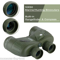 10x50 Zoom Military Telescope Scope Hunting Marine Binocular Rangefinder Compass