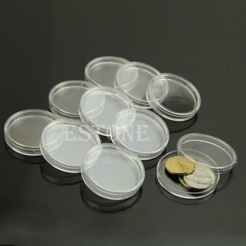 10 x Applied Clear Round Cases Coin Storage Capsules Holder Round Plastic 40mm