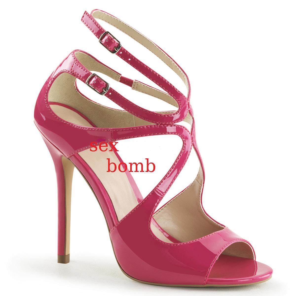 Sexy SANDALI ROSA ACCESO tacco 13 dal 35 al 44 doppio cinturino scarpe GLAMOUR
