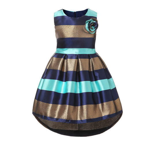 New Sleeveless Girls Dress A-line Colourful Stripe Birthday Party Kids Clothes