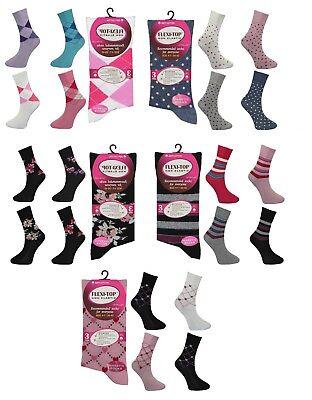 6 Paia Donna Women's Diabetic Socks Non-elastico Cotone Non Grip 4-7-