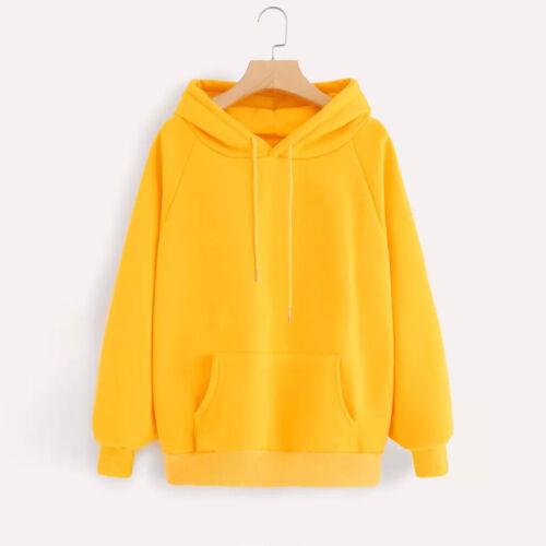 Womens Long Sleeve Pocket Casual Hoodie Sweatshirt Hooded Pullover Tops Blouse