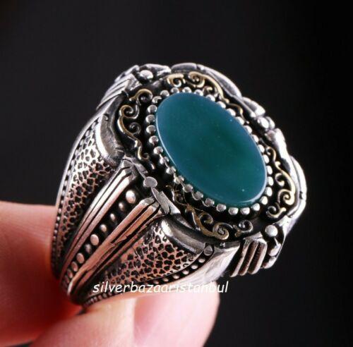 Joyería de plata esterlina 925 Verde turco Ágata Aqeeq Mens Anillo todos si̇ze US 01 1
