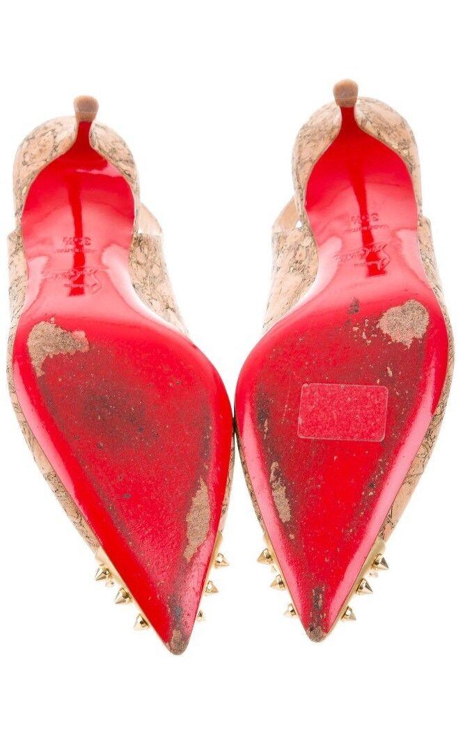Christian Louboutin oro Spike Corcho Slingback zapatos de salón salón salón 35.5 EE. UU. 5.5 ee61b9