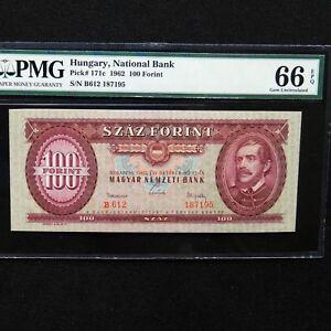 1962-Hungary-100-Forint-Pick-171c-PMG-66-EPQ-Gem-Unc