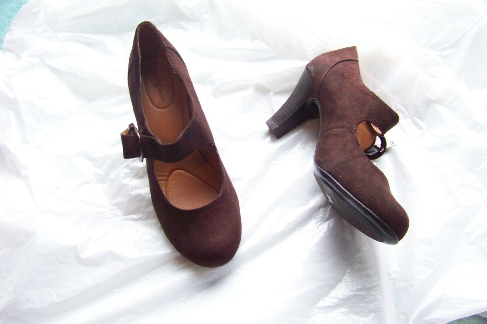 womens jaclyn smith alaina brown faux suede size mary jane heels shoes size suede 6 d23240
