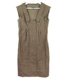 CUE Women's Sz 8 Brown Sleeveless Zip Up Snap Button Collared Knee Length Dress