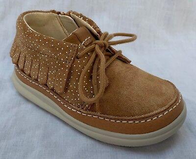 BNIB Clarks Girls Cloud Mocha FST Grey Leather Air Spring First Shoes F//G//H
