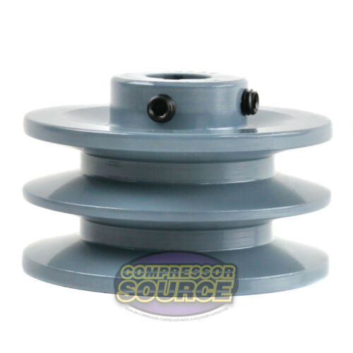 "3.5/"" Cast Iron 3//4/"" Shaft Pulley Sheave Single 2 Groove V Style B Belt 5L New"