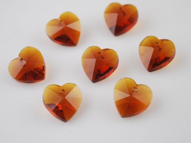 10pcs 10mm Heart Faceted Crystal Glass Pendant Loose Spacer Beads Smoked Topaz