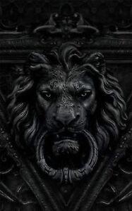 Framed Print Black And White Gothic Lion Door Knocker