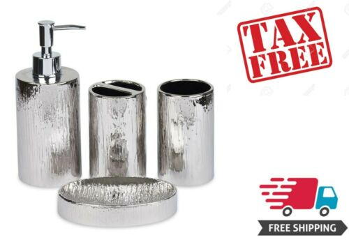 Bathroom Accessories Set Toothbrush Holder Soap Dispenser Silver Ceramic 4 Piece