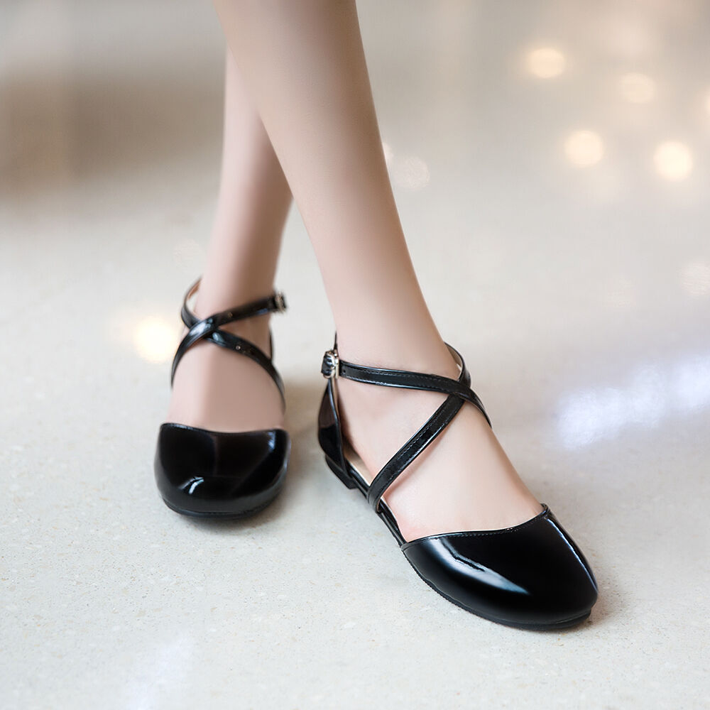 Cute Women Stylish round toe flats ankle cross strappy Date Casual shoes Sz34-43