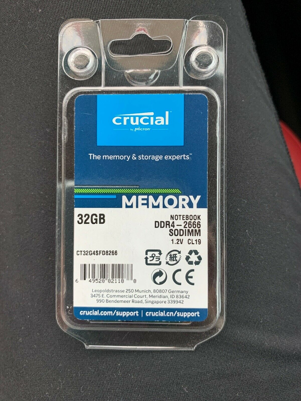 Crucial 32GB DDR4 2666 MHz PC4-21300 SODIMM 260-Pin Laptop Memory. Buy it now for 120.00