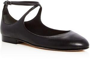 a26fc6e31e354 Details about $185 size 9.5 Via Spiga yovela Black Leather Ballet Flat  Ankle Strap Womens Shoe