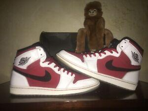 450ca265b4c Mens Size 12 Nike Air Jordan Retro 1 CARMINE Red White Shoes 555088 ...