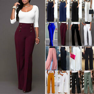 Women-039-s-Casual-Palazzo-Boho-Wide-Leg-Flared-High-Waist-Trousers-OL-Loose-Pants