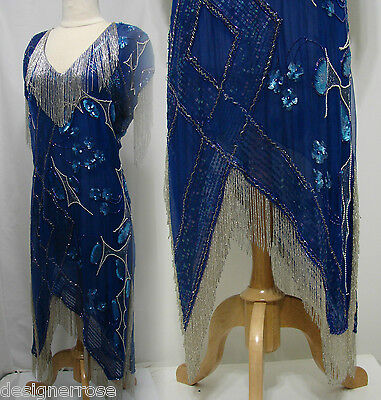 Vintage Blue Silk GLASS Bead Sequin Asymmetrical Fringe Flapper Dress Size 14